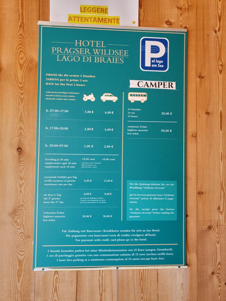 Pragser Wildsee parken Preise